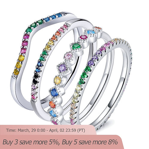 Rainbow Color CZ Finger Rings for Authentic  Sterling Silver 925 Jewelry SCR583