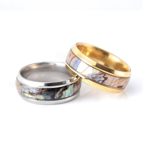 Jewelry Men Fashion Women Stainless Steel Abalone Shell  Ring Band  Unisex
