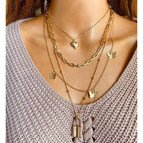 Women Gold Metal Key Heart Necklaces Jewelry Bride Party Gifts
