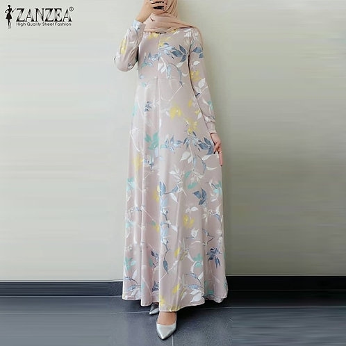 Women Long Sleeve Dress Autumn Floral Printed Long Dress  Clothing Caftan