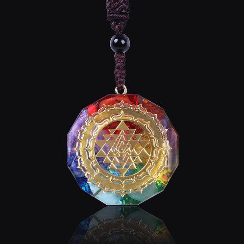 Orgonite Pendant Sri Yantra Necklace Sacred Chakra Necklace Meditation Jewelry