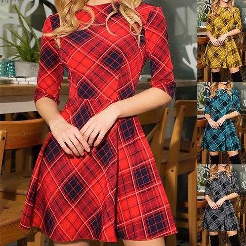 New Winter Xmas Red Plaid Dress 3/4 Sleeve Plaid Slim Dress Party Vestidos D3