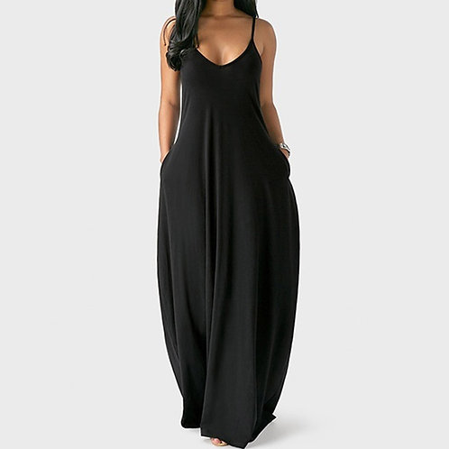 Long Dress Loose Sexy Spaghetti Straps Sleeveless Pockets Solid Color Maxi Dress
