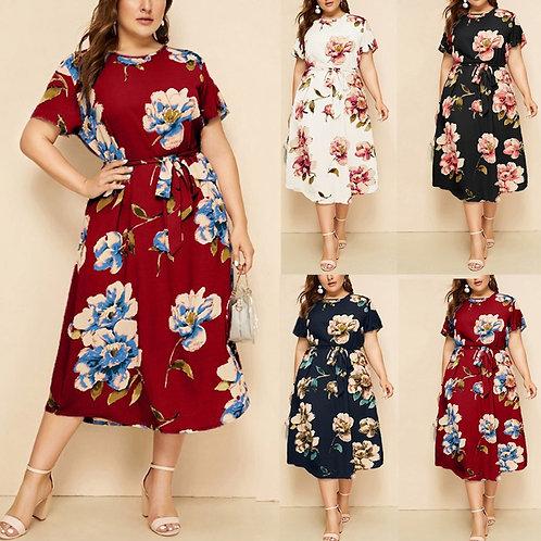 Women's Casual Plus Size O-Neck Short Sleeve Print Strap Dress Dress