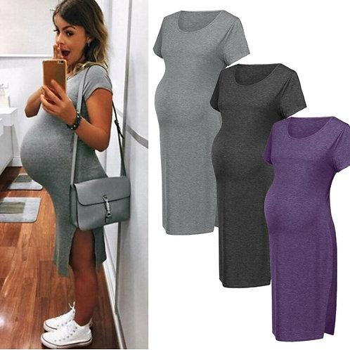 New Pregnant Woman Dresses Solid Color Cotton O-Neck Dress Prop Photo Shoot Gown
