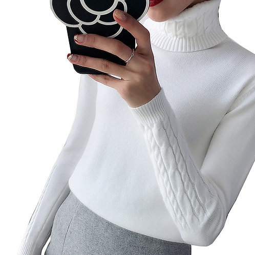 Thick Sweater Women Knitted Ribbed Pullover Sweater Long Sleeve Turtleneck S