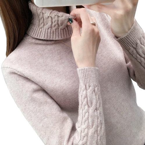Women Sweater Turtleneck Pullovers  Sleeve Thick Warm Female Sweater Khaki