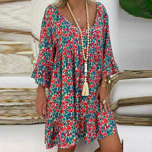Floral Dress Women's Casual Loose Plus Size Long Sleeve V-Neck Ladies Club Party