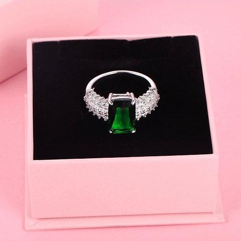 Princes-cut Geeen Swarovski Crystal Rings