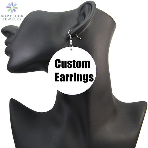 Afro Wood Drop Earrings 6cm Jewelry No MOQ for Black Women Gifts 1Pair