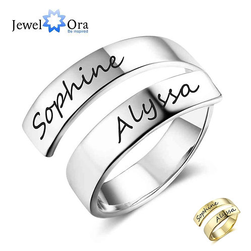 Personalized Gift Customized Name Stainless Steel Adjustable Rings for Women