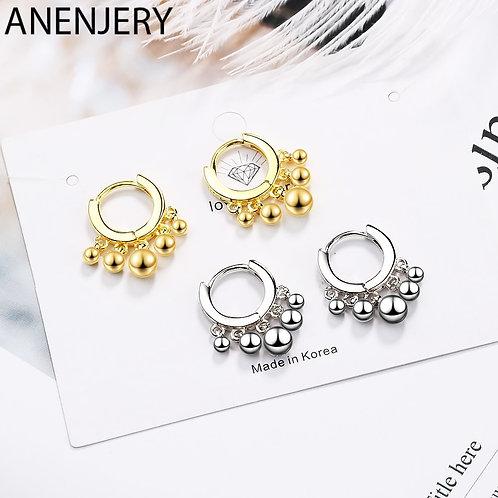 925 Sterling Silver Ins Simple Beads Earrings for Women Earrings Oorbellen
