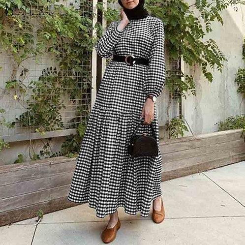 Dress Vintage Long Puff Sleeve Party Dress Plus Size Kaftan Vestido Femme Robe