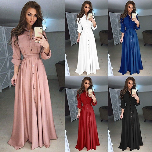 Dress Casual  A-Line Long Sexy Solid Slim Fit Buttoned Maxi Dress Women