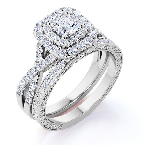 1.25 ct - Square Diamond - Double Halo - Twisted Band - Vintage Inspired - Pave