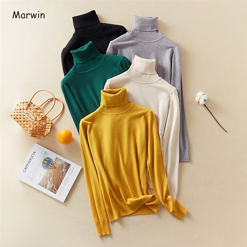 Tops Solid Turn-Down Collar Pullovers Female Thick Turtleneck Knitted High