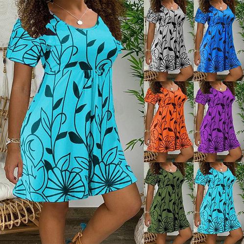 Floral Print Short Sleeves O-Neck Short Dress