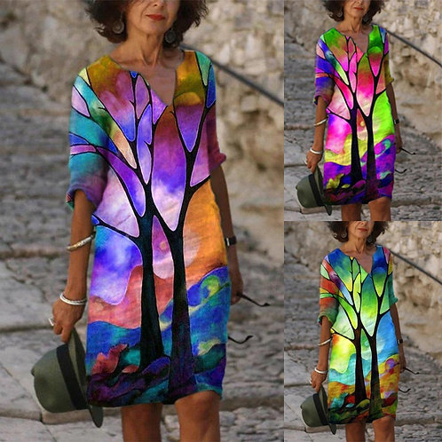 Women's Sleeve Neck Shift Dresses Casual Abstract Dress Plus Size Loose Dress