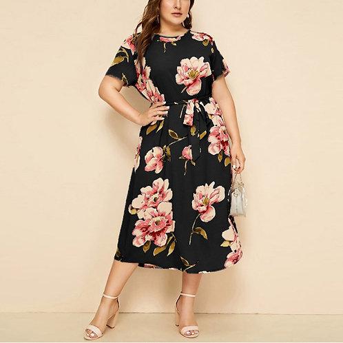Plus Size Dresses Casual Woman Dress Print Waist Strap Dress Vestido De Mujer