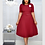 Thumbnail: O-Neck Short Sleeve Solid Color Pleated With Belt Mid-Calf Length Dress