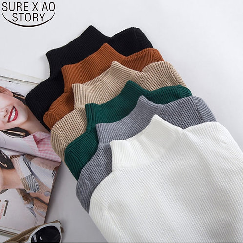 Fashion Korean Long Sleeve Knitted Sweater Turtleneck 14 Colors 2021