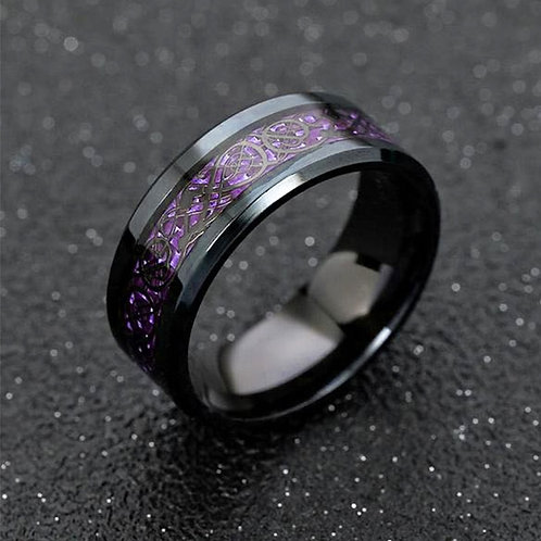 Carbon Fiber Black Dragon Inlay Comfort Fit Band Ring Fashion Jewelry