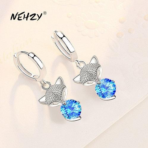 925 Sterling Silver 2021 New High Earrings Blue Pink Crystal Zircon Earrings