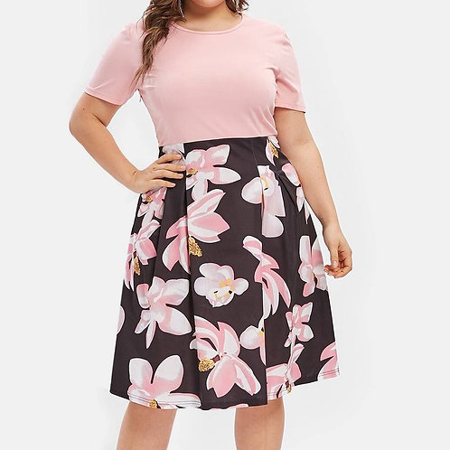 Sexy Plus Size Flower Print Plus Size Midi a Line Dress Size Neck Summer 2021 ★