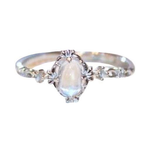 Moonstone Rings for Women Vintage Tibetan Ring Water Drop White Stone Ring Femal