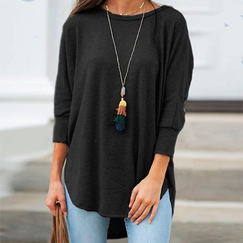 Solid Black Shirt Woman Casual Cotton O Neck Tops and Blouses Irregular Women