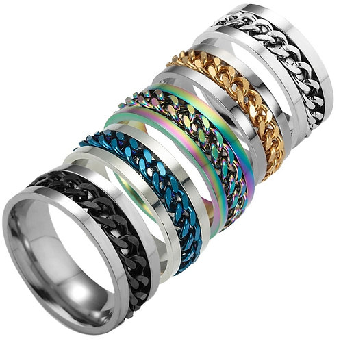 Stainless Steel Chain Ring Rotatable Pry Cap for Men Women Titanium Jewelry