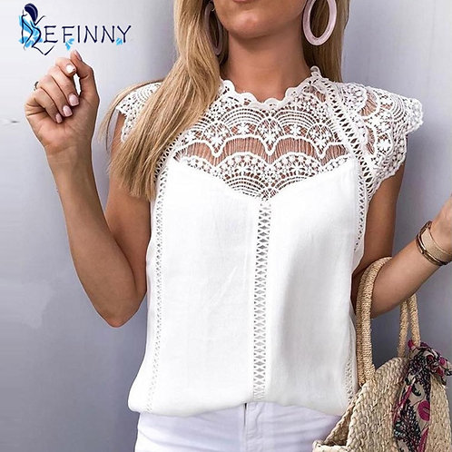 Summer Tops Blouses Lace Patchwork  Solid Shirt Blouse Roupa Feminina Shirts