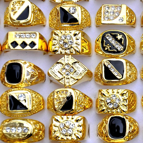 10pcs/Lot Vintage Classic Gold-Color Crystal  Metal Ring Man's Wide Rings