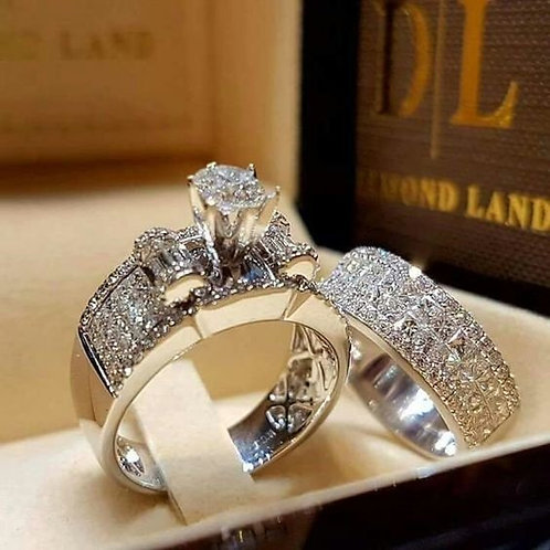 Exquisite 925 Sterling Silver Natural White Sapphire Gemstone Ring Set