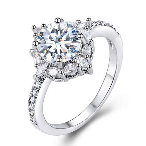 Round Inlay Diamond Ring Fashion Classic Jewelry for Party Wedding