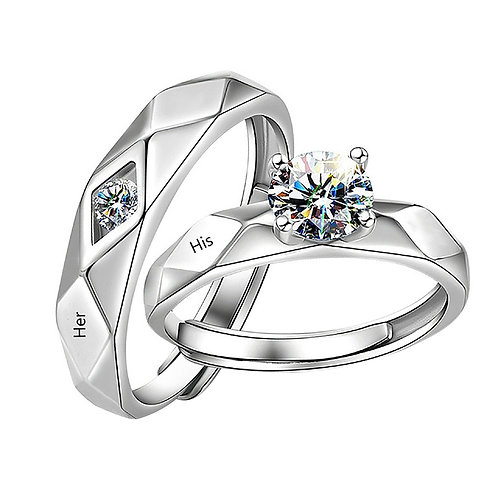 2 Rings Couple Rings Wedding Rings for Women  Stainless Steel Engagement Jewelry