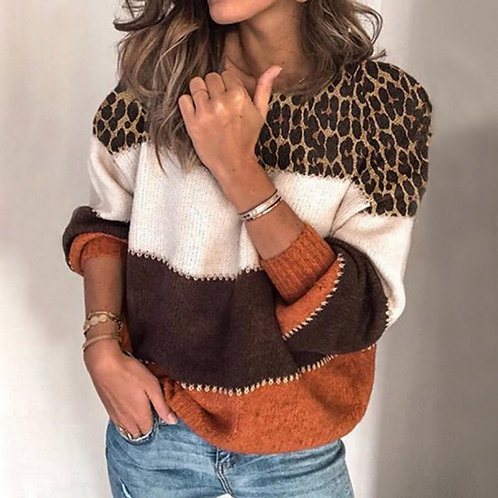 Fashion Leopard  Autumn Winter  Long Sleeve  Warm Knitted Loose Striped Sweater