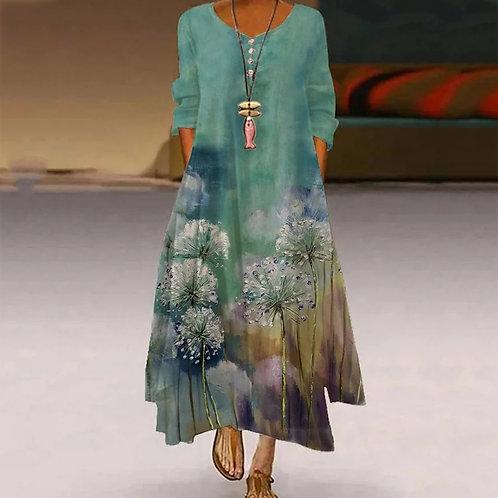Long Sleeve Vintage Bohemian O Neck Dress