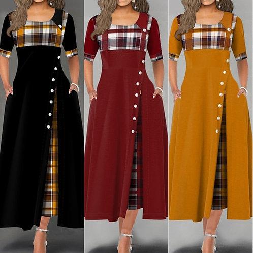 ElegantnNew O Neck Short Sleeve Plaid  Casual Party Long Dress Lady Robe 5XL