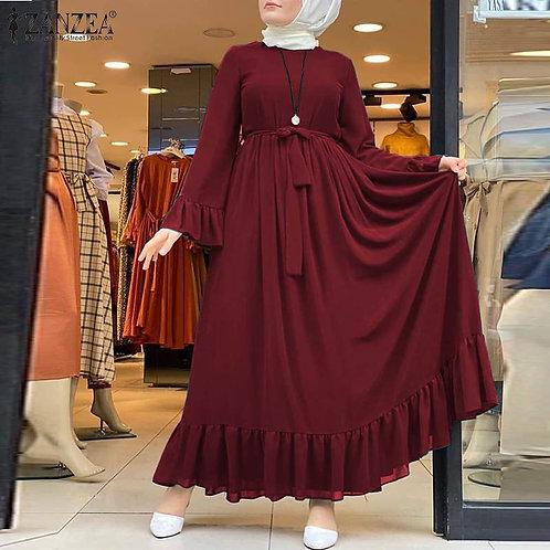 Dress Women's Sundress  Elegant Ruffle Patchwork Maxi Vestidos Plus Size