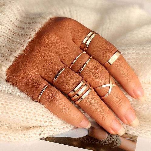 Rings Set for Women Fashion Cross Twist Open Ring  Joint Ring Female Jewelry