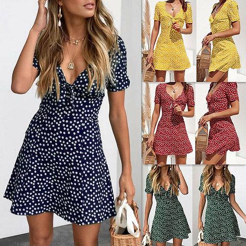 Boho Floral Design v Neck Beach Dress