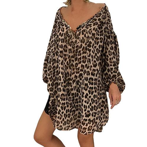 Womens Plus Size Long Sleeve Blouse Vintage Leopard    Down V-Neck Tunic Tops