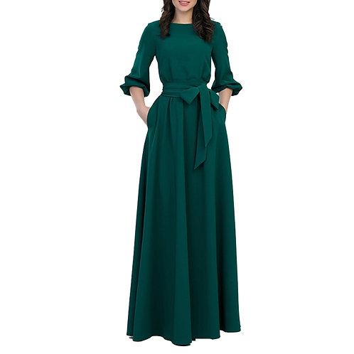Winter Woman O-Neck Long Dress  Style Vintage Sleeve Party Dress Maxi Dress