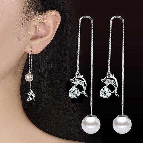 925 Sterling Silver New Woman Ear Line Blue Zircon Long Tassel Retro Earrings