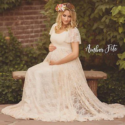 Women White Props Lace Pregnancy Clothes Maternity Dresses