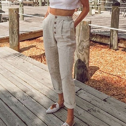 Pencil Pants Casual Button High Waist Trousers Women Plus Size Long Pants 3XL