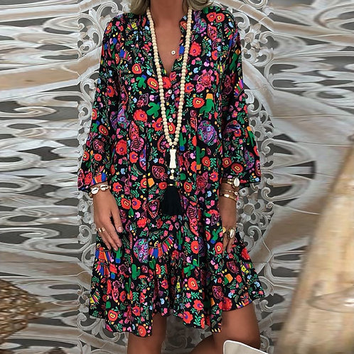 Women's Plus Size Dress Loose Floral Printed  Long V-Neck Mini Vestidos Largos