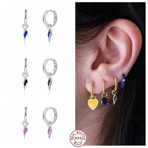 GS 925 Sterling Silver Colorful Shape Earrings for Women Drop Earrings Gift