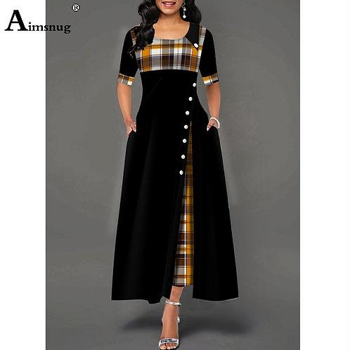 Plus Size 4xl 5xlvWomen Elegant Plaid Print Ladies Dress Patchwork A-Line